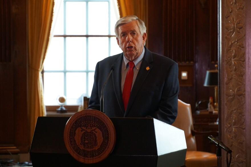 At a press briefing on Monday, Gov. Mike Parson lays out phase one of his plan to reopen Missouri. In one week, all businesses in the state will be allowed to open again but must adhere to social distancing guidelines.