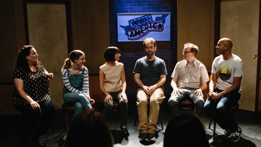 """<em>Don't Think Twice</em> is about fame and friendship,"""" but mostly it's a celebration of improv. (Pictured: Tami Sagher, Gillian Jacobs, Kate Micucci, Mike Birbiglia, Chris Gethard and Keegan-Michael Key)"""