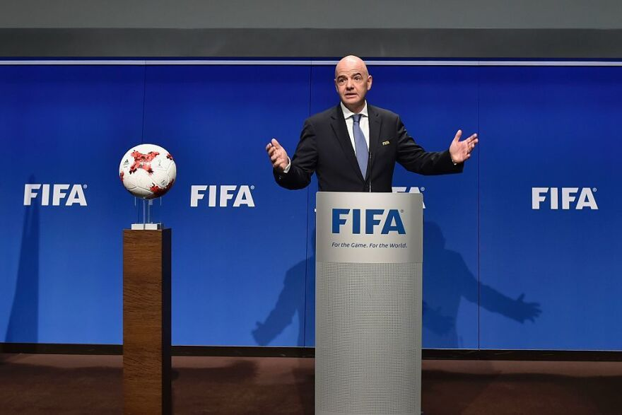 FIFA President Gianni Infantino speaks during a press briefing on Tuesday at the governing body's headquarters in Zurich.