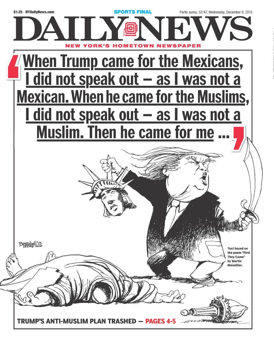 The<em> New York Daily News'</em> front page Wednesday.