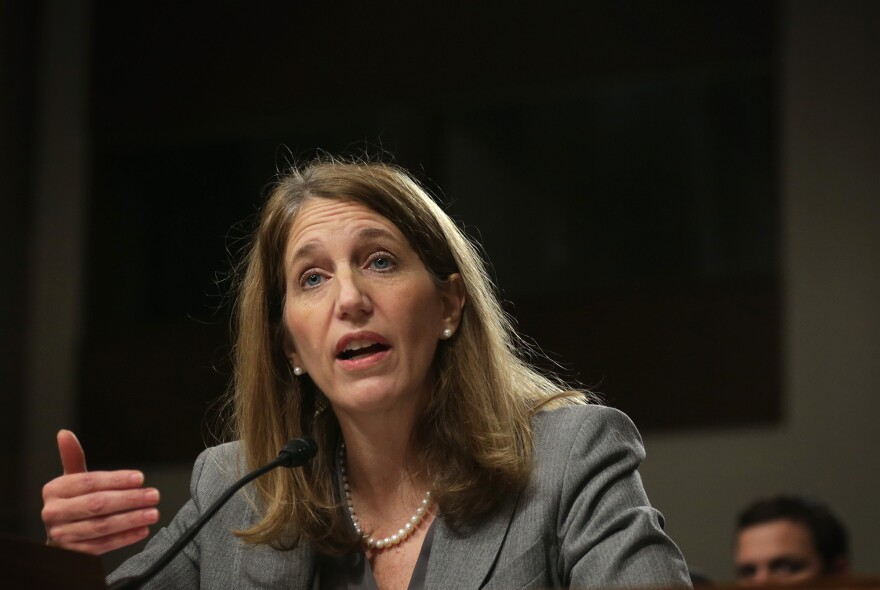 """Secretary of Health and Human Services Sylvia Burwell at a Senate hearing in 2014. """"We expect this to be a transition period for the marketplace,"""" she told reporters Wednesday. """"Issuers are adjusting their prices, bringing them in line with actual data on costs."""""""