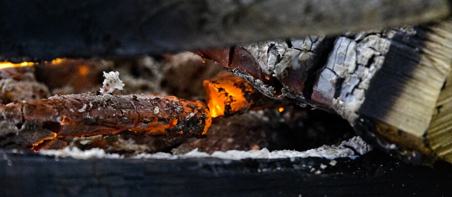 close up of embers in a bonfire