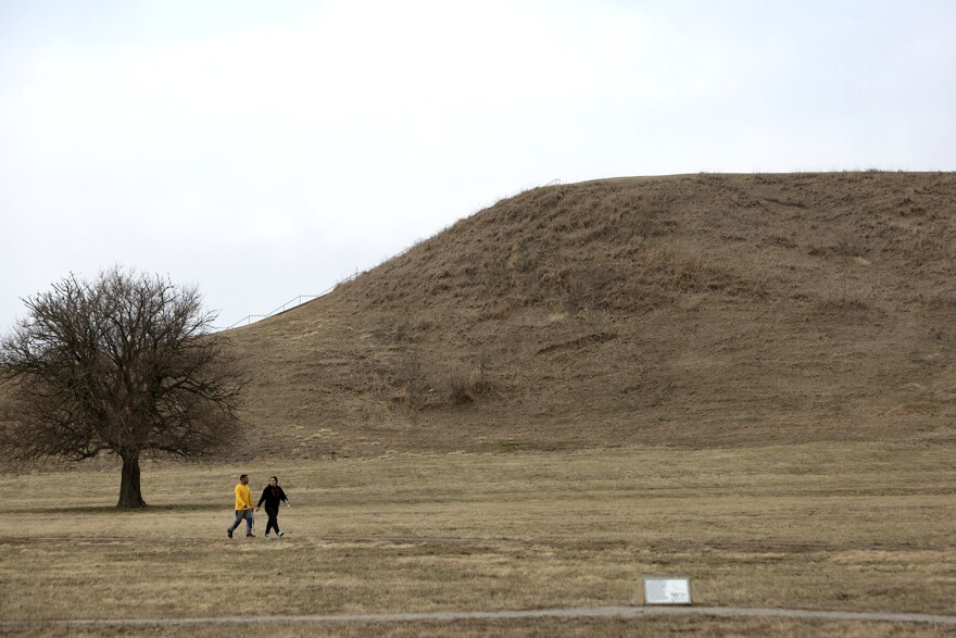 Monks Mound is the tallest of the ancient earthen structures at Cahokia Mounds State Historic Site in Collinsville.
