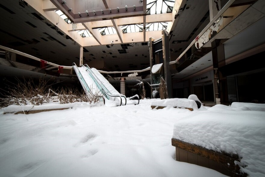 A photo of Rolling Acres Mall filled with snow