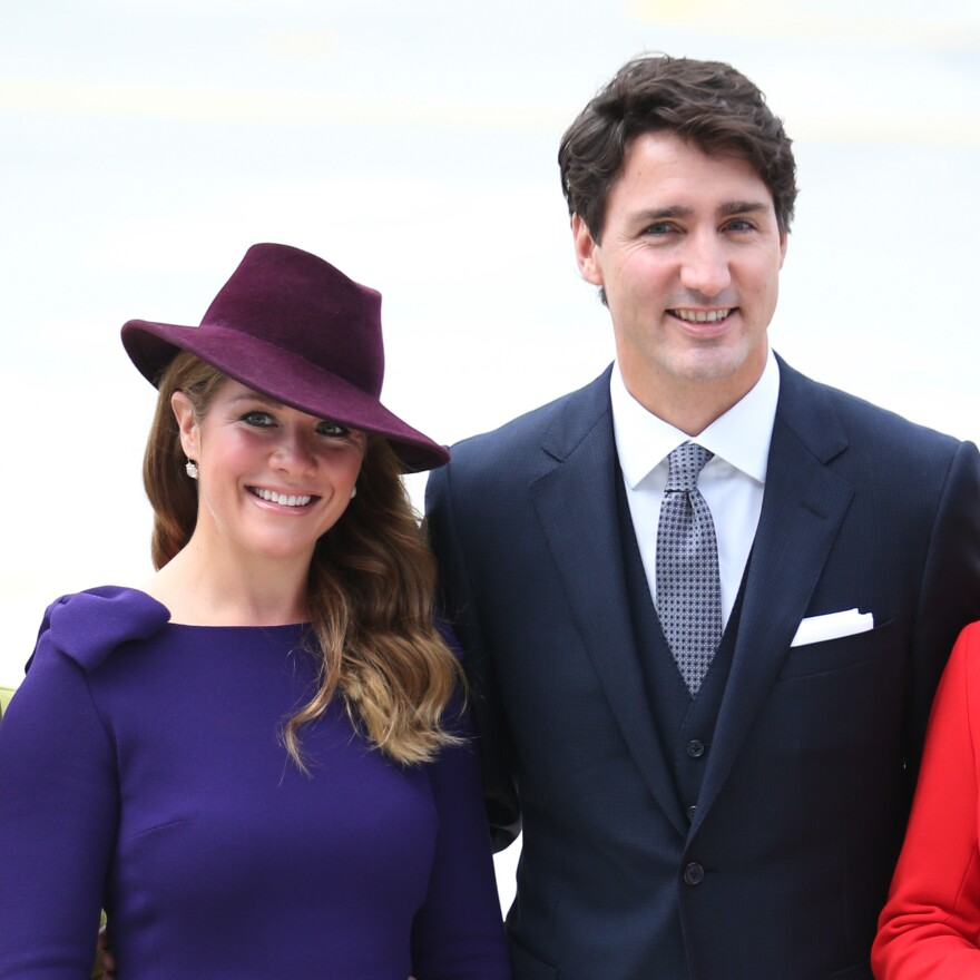 Canadian Prime Minister Justin Trudeau and his wife, Sophie Grégoire Trudeau, at the Victoria Airport in 2016. Grégoire Trudeau has tested positive for the novel coronavirus, the prime minister's office said Thursday.