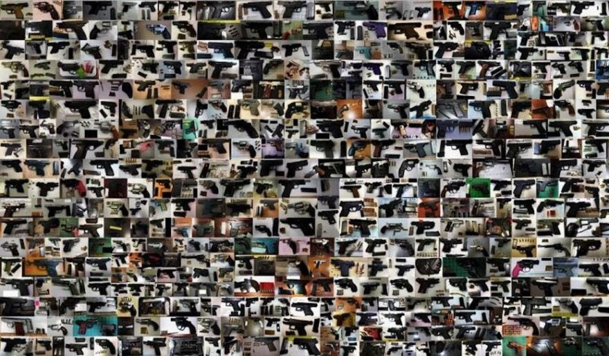 This collage includes images of the guns TSA agents found in carry-on bags across the country in 2017.