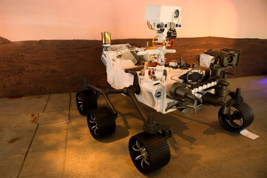 A full scale model of the Mars 2020 Perseverance rover is displayed at NASA's Jet Propulsion Laboratory (JPL) in Pasadena, California.
