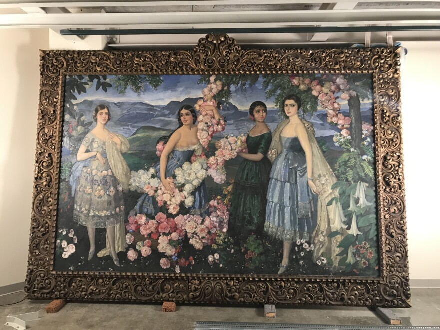 """""""Flores Mexicanas""""painting by Alfredo Ramos Martinez in storage at the Missouri Historical Society's Library and Research Center prior to conservation."""