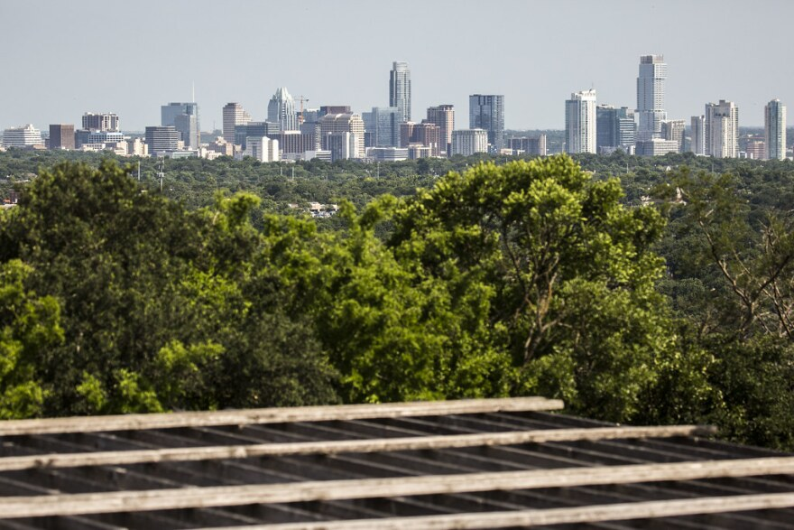 The view of Austin's skyline from Mt. Bonnell in West Austin.