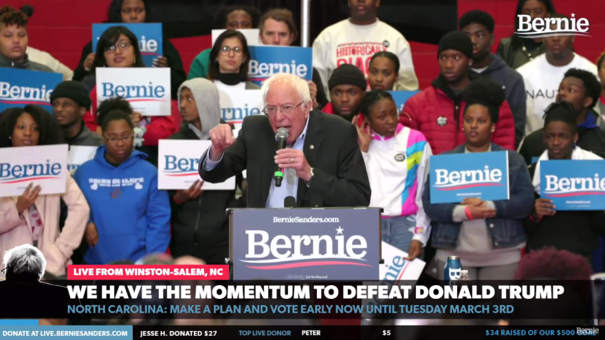 A screenshot of the Sanders campaign's live-stream during Thursday's rally in Winston-Salem, N.C.