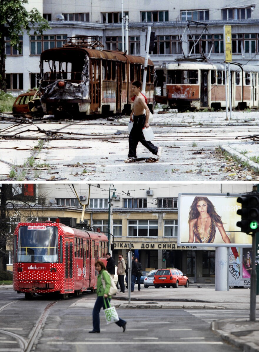 A Bosnian teenager carrying containers of water walks in front of destroyed trams at Skenderia square in the besieged Bosnian capital of Sarajevo, in this picture taken June 22, 1993 (top), and a woman passes through the same square, April 1, 2012.