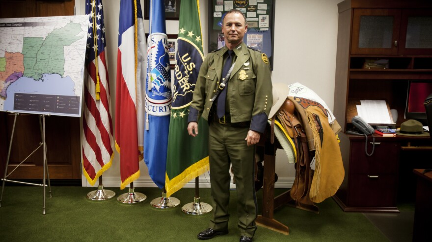 U.S. Border Patrol Commander Robert Harris in his office earlier this year in Laredo, Texas.