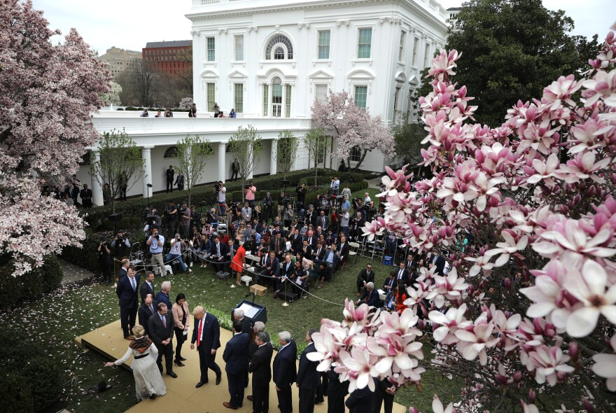 President Trump leaves the Rose Garden after the March 13 news conference about the ongoing coronavirus pandemic. Few of the promises made at the conference have been fulfilled.