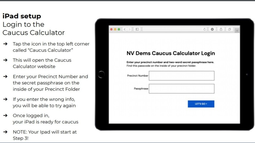 A training slide for caucus-day volunteers shows the login screen for the iPad calculator that Nevada Democrats are integrating into their caucuses this year.