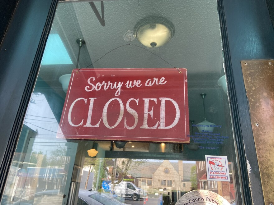 A closed sign on a Columbus area business a few weeks after all businesses deemed non-essential were shut down.