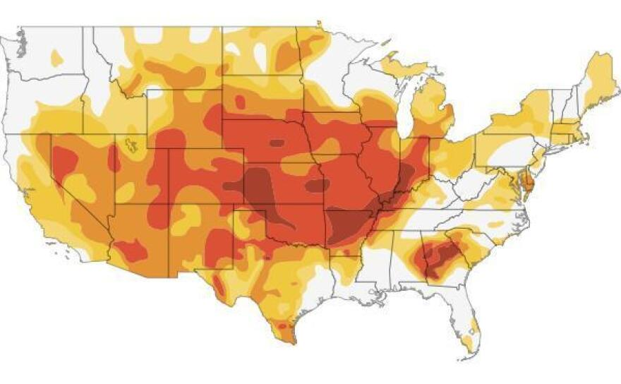 """<a href=""""http://www.npr.org/2012/07/18/156989764/interactive-mapping-the-u-s-drought"""">Click here</a> to go to an interactive map showing how the drought has grown this year."""