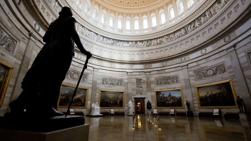 The U.S. Capitol Rotunda stands empty on Monday, a result of the partial government shutdown. The shutdown has affected the administration of the Violence Against Women Act, which expired Friday at midnight.