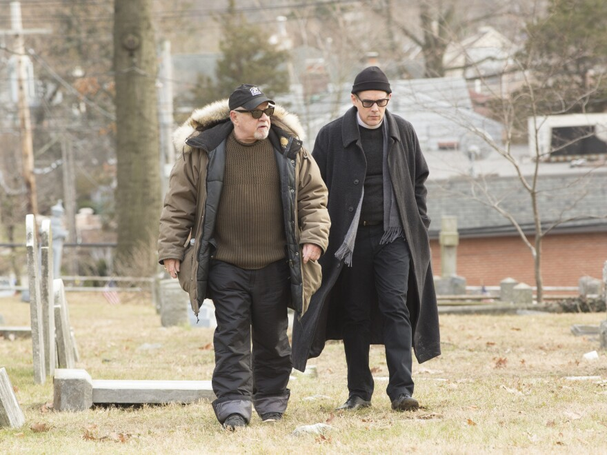 """Screenwriter/director Paul Schrader, left, says that as he was writing the script for <em>First Reformed,</em> he knew he wanted Ethan Hawke to play the main character. """"He was just coming to a very interesting place in his physical life,"""" Schrader says of Hawke."""