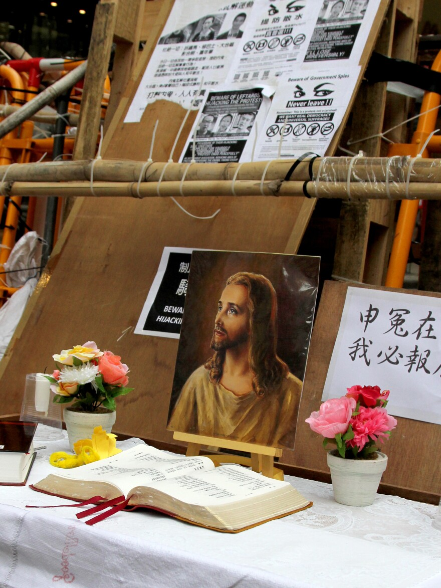 Many leaders of Hong Kong's pro-democracy movement are Christians. Protesters erected this shrine to protect themselves from attack.