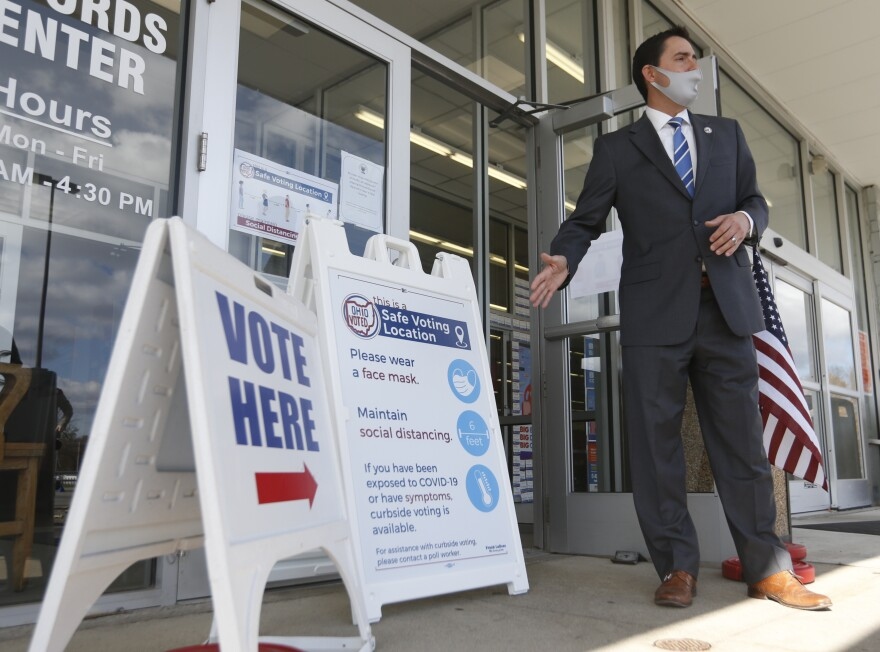 Ohio secretary of state Frank LaRose speaks during a media tour of the Delaware County Board of Elections in Delaware, Ohio, Sunday, Nov. 1, 2020.