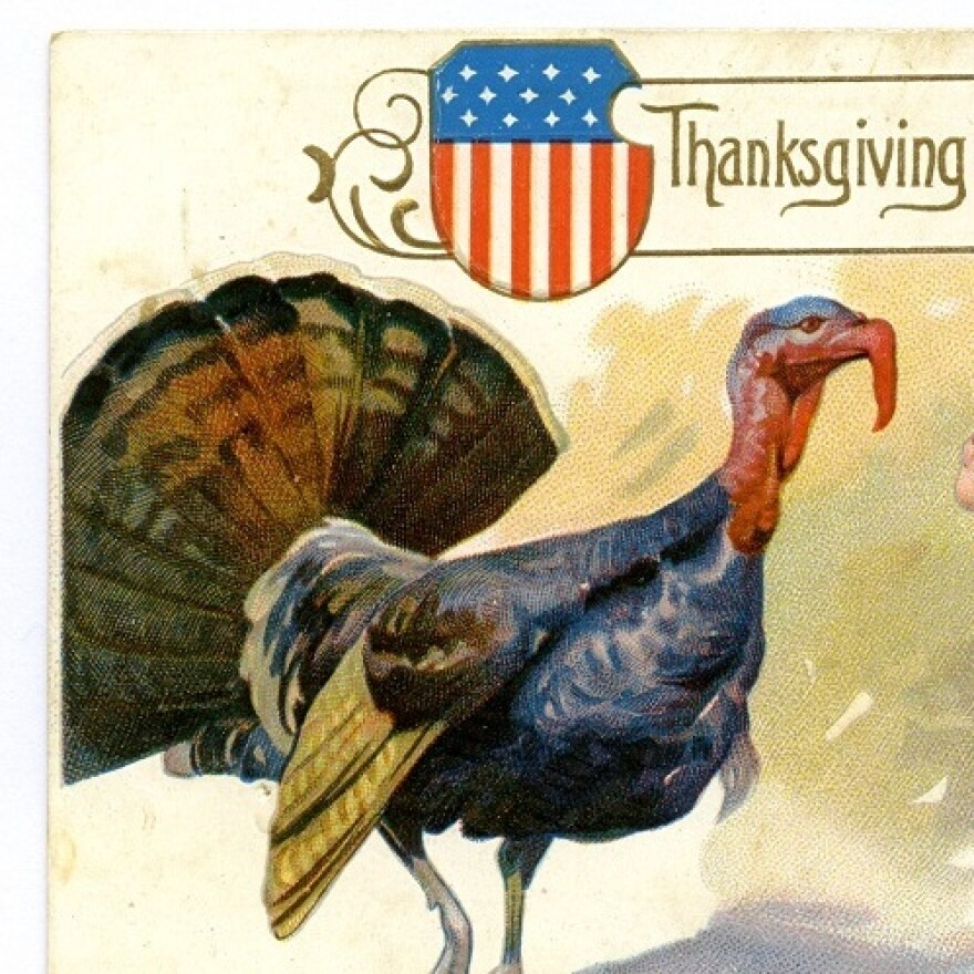 Patriotic Turkey: Detail from a vintage Thanksgiving greeting card.