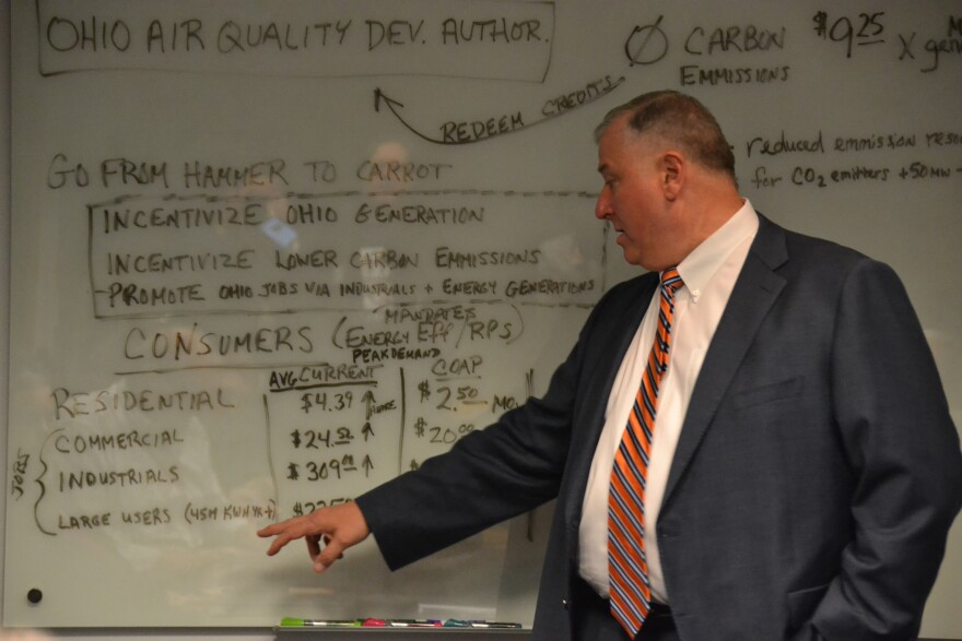 House Speaker Larry Householder (R-Glenford) presents his plan to overhaul Ohio energy police on a white board in April 2019. The plan became HB6, sparking a long debate on nuclear, coal, and green energy.