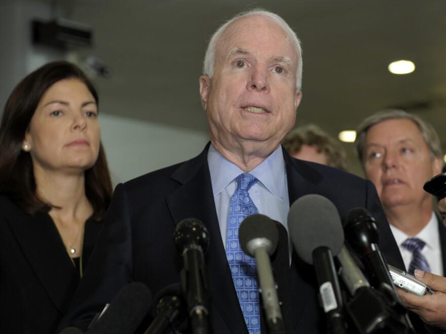 Republican Sens. John McCain, Kelly Ayotte and Lindsey Graham speak Tuesday after a meeting with U.N. Ambassador Susan Rice.