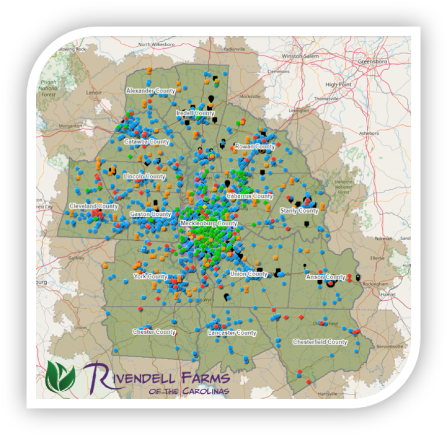 Image of the interactive map of the Charlotte food system
