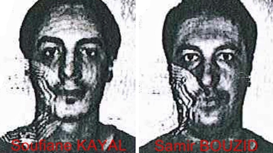 Using fake identity cards, Laachroui Najim posed as Soufiane Kayal (left), and Mohamed Belkaid posed as Samir Bouzid when they worked with arrested terrorism suspect Salah Abdeslam, police in Belgium say. They're seen here in handout photos from the Belgian police that were released on Dec. 4.