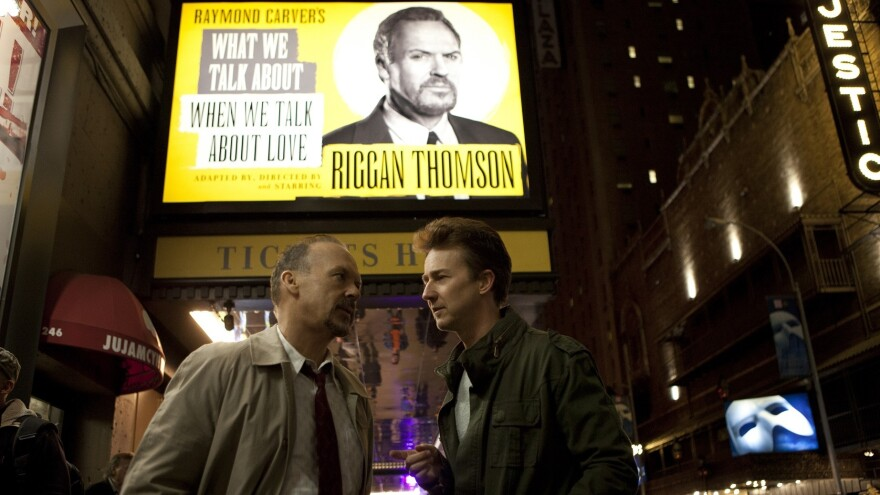 Michael Keaton stars as a washed-up film star trying to make a stage comeback in Alejandro Gonzalez Iñárritu's <em>Birdman.</em>