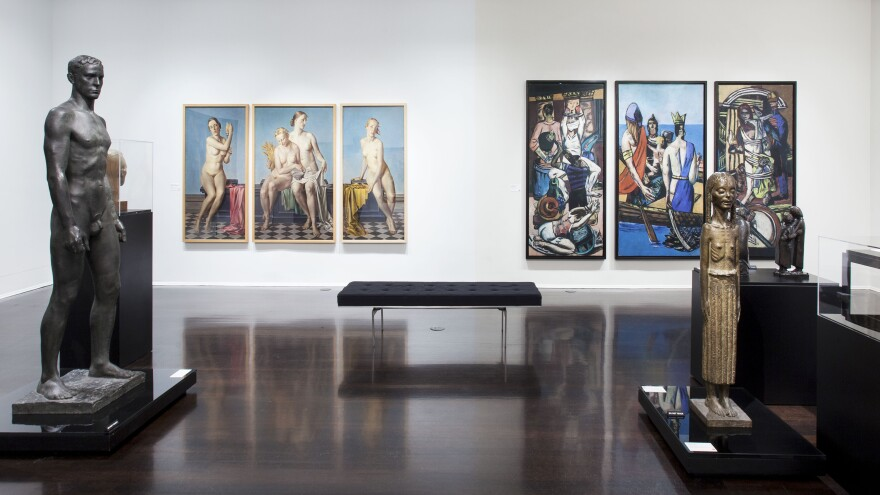 Max Beckmann's biblical and political triptych <em>Departure</em> (right) hangs on the same wall as Adolf Ziegler's <em>Four Elements</em><em> </em>triptych, which Hitler owned.