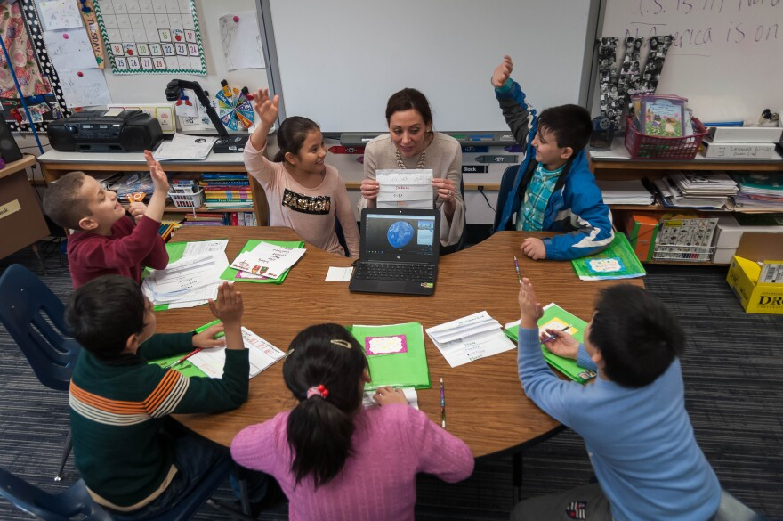 Sasha Walchli works with English-language learners at Green Trails Elementary School in the Parkway School District in 2018.