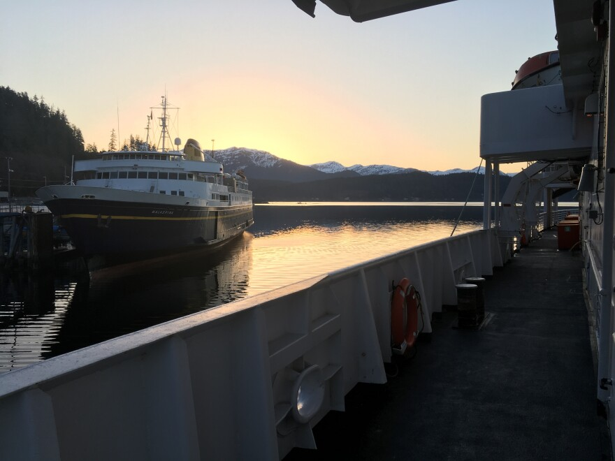 The ferries Malaspina and LeConte are docked near Juneau at sunrise. Both ships are part of Alaska's state ferry system, which could face steep budget cuts  Oct. 1, under a proposal by Alaska Gov. Mike Dunleavy.
