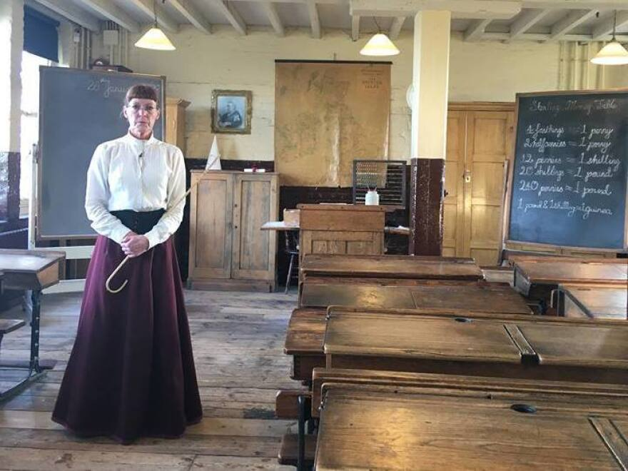 Sally Armstrong, who plays the role of ragged school teacher Miss Perkins, stands her ground.