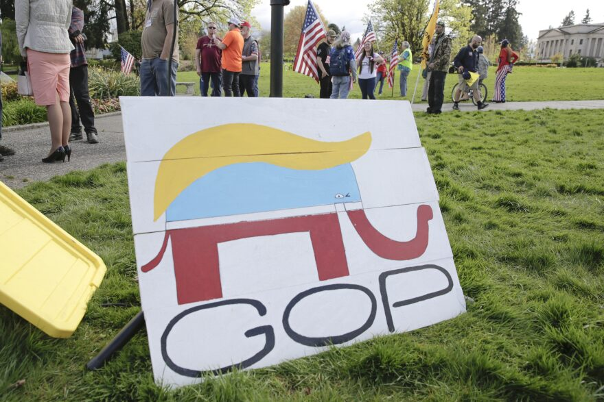 A Republican Party elephant logo is pictured with the hair of US President Trump during a demonstration against Washington state's stay-home order at the state capitol in Olympia, Washington, on April 19, 2020. (Jason Redmond/AFP via Getty Images)