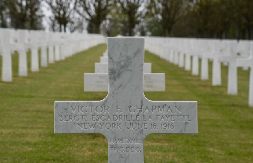 The grave of Victor Chapman, first American airman to be killed in World War One, Muese-Argonne American Cemetery.