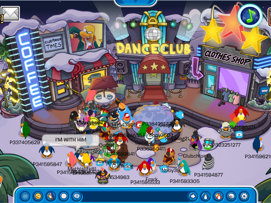 """Club Penguin users express their opinions on the results of the election, including one seeming to support Donald Trump with the message """"I'M WITH HIM."""""""