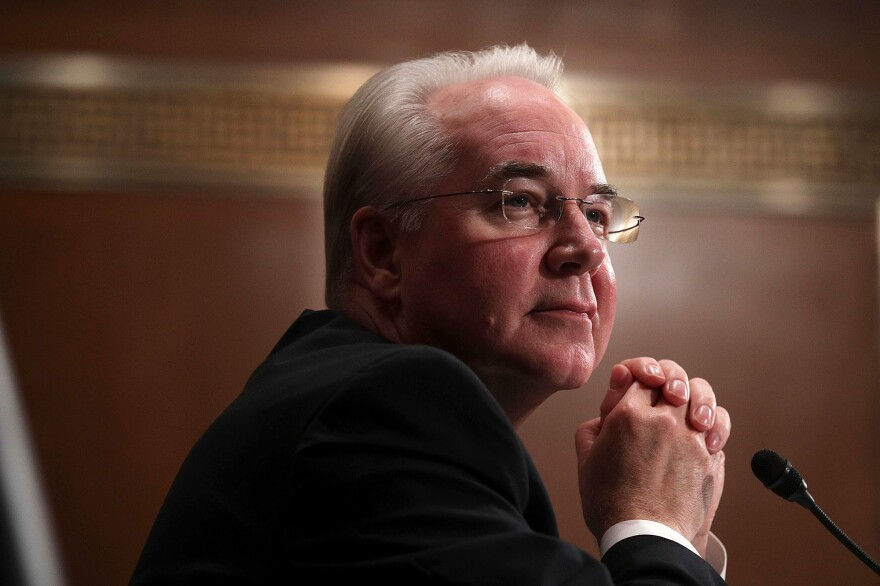 Rep. Tom Price, nominee for Secretary of Health and Human Services Secretary, faced questions about his investments in health care companies during a confirmation hearing on Wednesday.