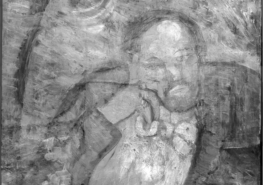 Infrared imagery reveals a bow-tied man underneath the layers of paint that make up <em>The Blue Room</em>.