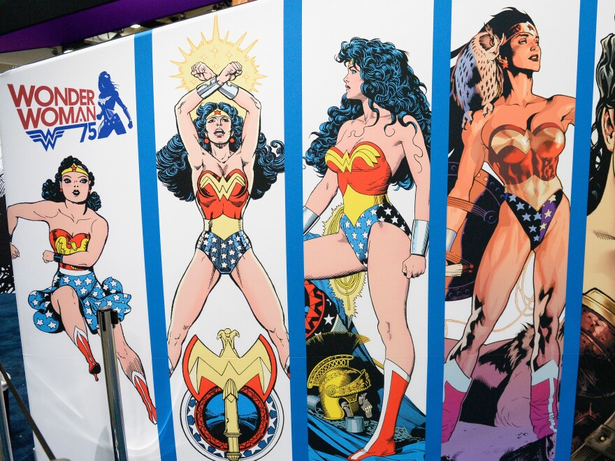 A Wonder Woman display at Comic-Con International on July 20.