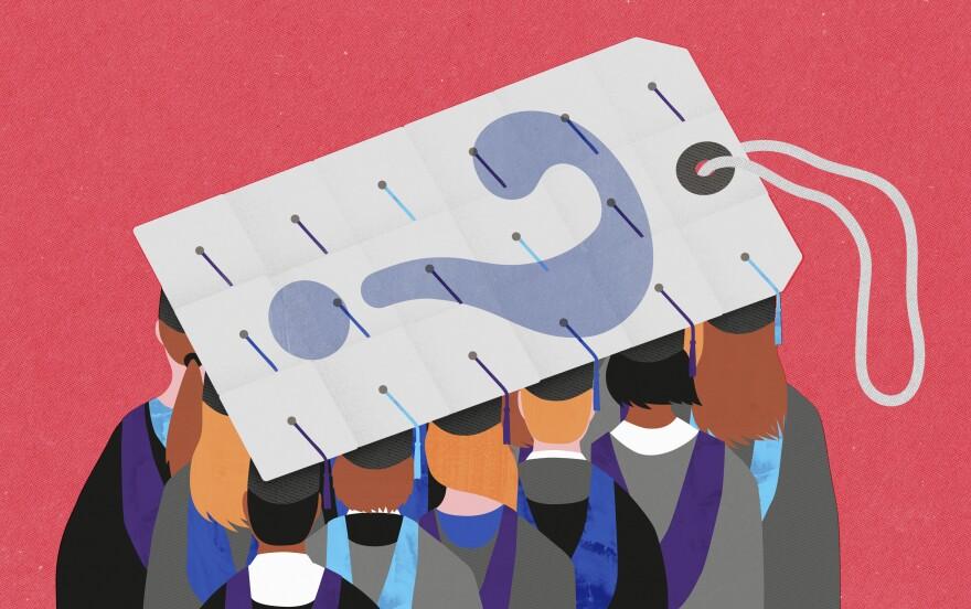 College graduates' mortar boards make a giant price tag.