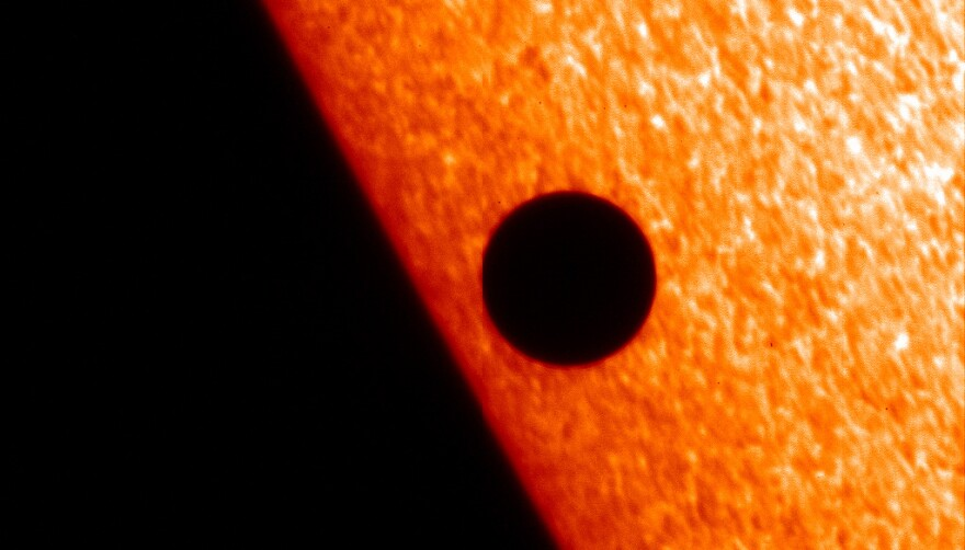 This image of Mercury passing in front of the sun was captured on Nov. 8, 2006 by the Solar Optical Telescope, one of three primary instruments on the Hinode spacecraft.