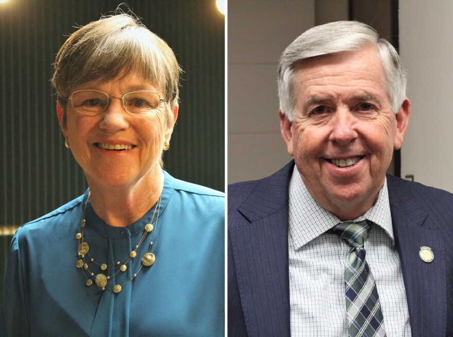 Picture of Governor Laura Kelly of Kansas and Governor Mike Parson of Missouri