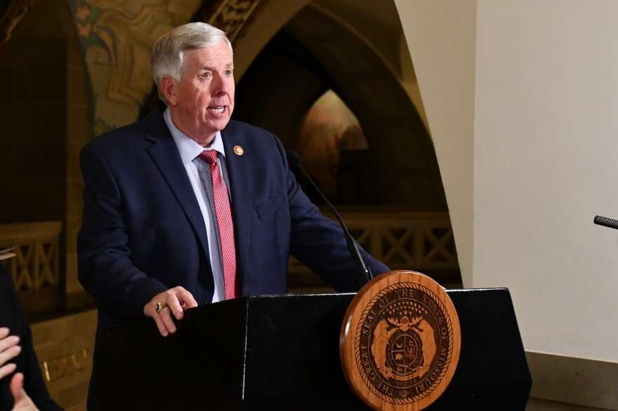 Missouri Governor Mike Parson said the state has hired a private health care company to provide temporary workers and additional beds for hospitals in Missouri overrun with coronavirus patients.