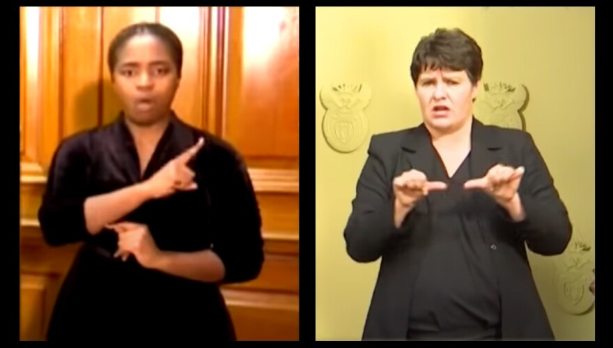 Andiswa Gebashe, left, and Nicoline Du Toit are the sign language interpreters for South African President Cyril Ramaphosa's pandemic briefings — and have become unlikely celebrities.