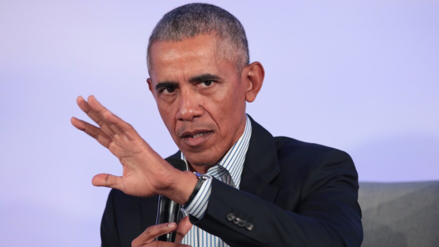 "Former President Barack Obama, here at a Chicago event in October, has weighed in on the aftermath of George Floyd's killing, saying those who've resorted to violence put ""innocent people at risk."""