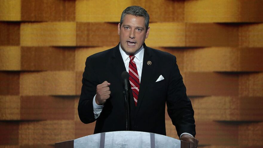 Rep. Tim Ryan, D-Ohio, delivers remarks on the fourth day of the Democratic National Convention in 2016. He is now launching his own campaign for president in 2020.