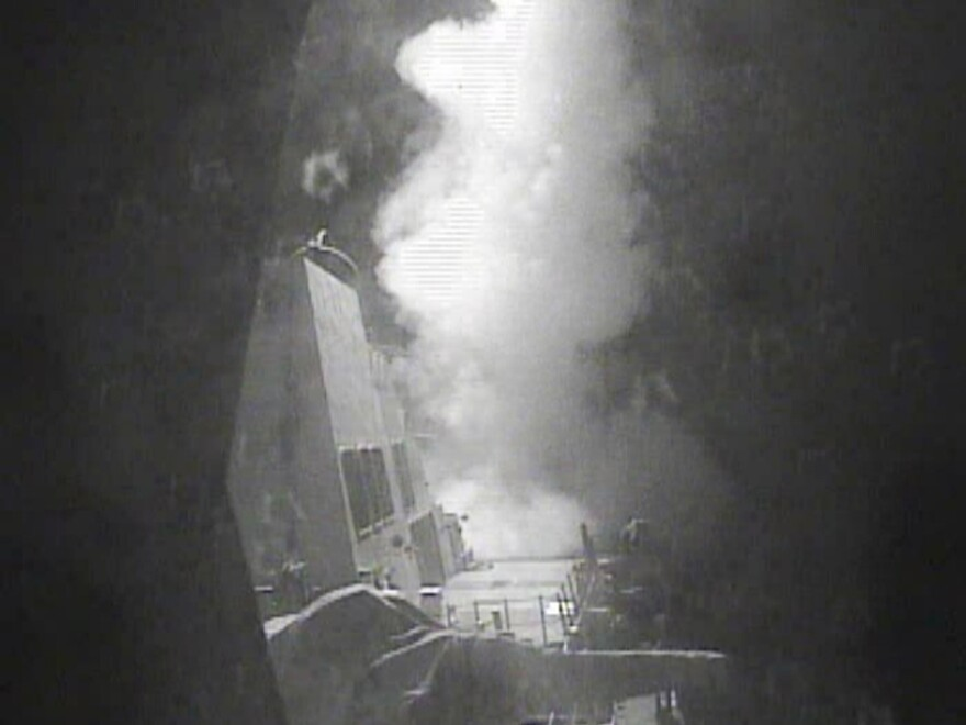 The guided missile destroyer USS Nitze launches a strike against coastal sites in Houthi-controlled territory on Yemen's Red Sea coast.
