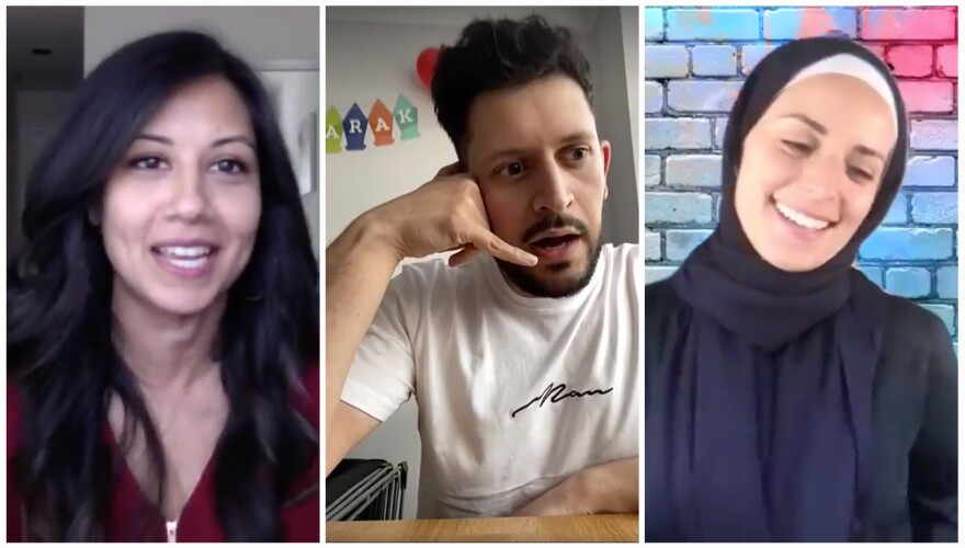 From left: Muslim comedians Natasha Chandel, Abdullah Afzal and Mariam Sobh. They each performed a set during the Socially Distant Eid Comedy Night Special, a virtual event hosted by the Concordia Forum.