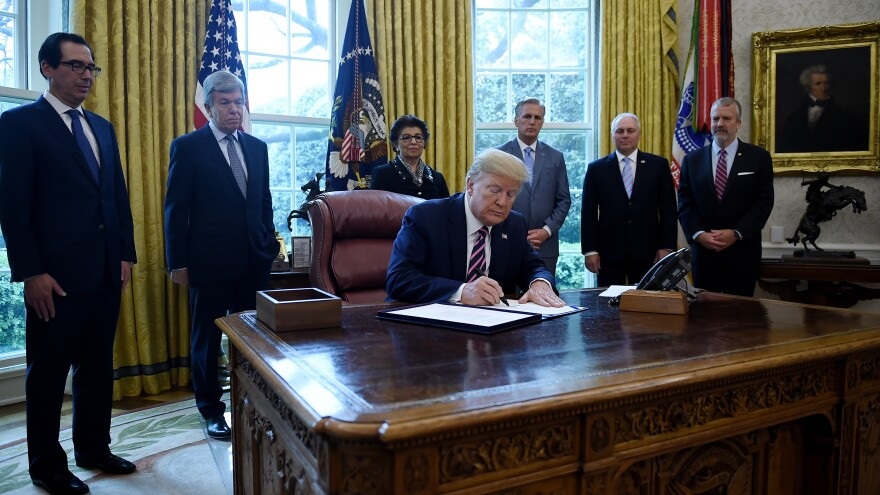 President Trump on Friday signed about $484 billion more in relief funds amid the coronavirus pandemic.